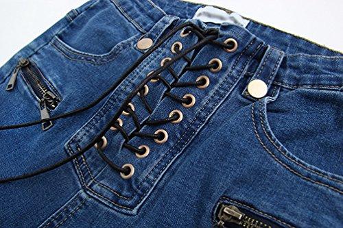 Vita Straps Boyfriend Wanyang Donne Blu Skinny Design Comode Jeans Stretch Alta Elasticizzati 8Z4qX