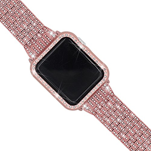 Falandi Sparking Apple Watch Bands with Rhinestones Face Case, for Women Men, Bling Stainless Steel Replacement Diamond Wristband for iWatch Series 3, 2, 1, Nike+ Sport Edition (Rose Gold, 38mm)