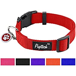 """PUPTECK Nylon Puppy Adjustbale Collars Designer for Medium Small Dogs with ID Tag 12""""-16"""""""