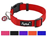 PUPTECK Nylon Puppy Adjustable Collars for Small Dogs with ID Tag XS...