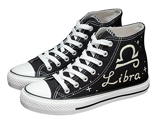 Meet the beauty Women Canvas Shoes Constellation Luminous High Top Lace up Unisex Designs Hand-Painted,6D(M) ()