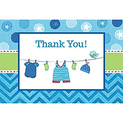 Amscan 481491 After Shower with Love Boy Postcard Thank You Cards Multicolor Party Supplies 4 1//4 x 6 1//4 Blue