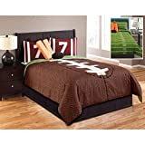 Hallmart Kids 43666 6-Piece Touchdown Comforter Set, Full, Brown/Green
