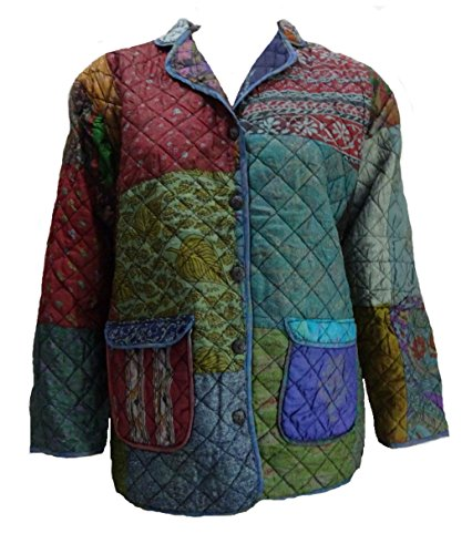 Lightweight Silk Coat (Sacred Threads Vintage Silk Long Sleeve Quilted Lightweight Coat/Jacket S/M)