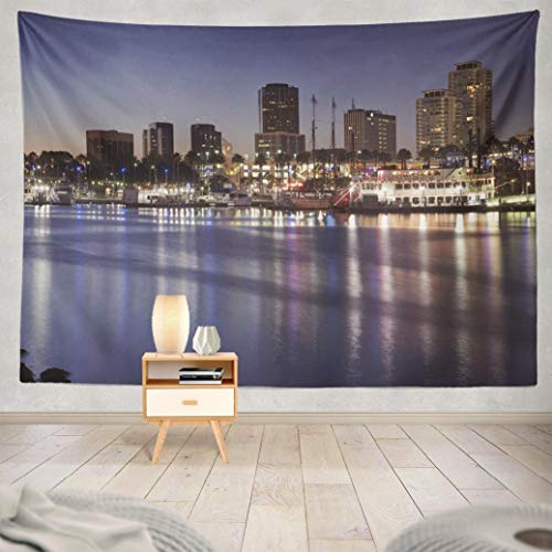 Hdmly Beach Tapestry Wall Hanging Decor, Decorative Wall Tapestry Skyline Skyscrapers and Harbour Long Beach California Night 60