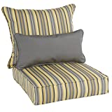 Oakley Sunbrella Striped Indoor/ Outdoor Corded Pillow and Chair Cushion Set | Multi Yellow