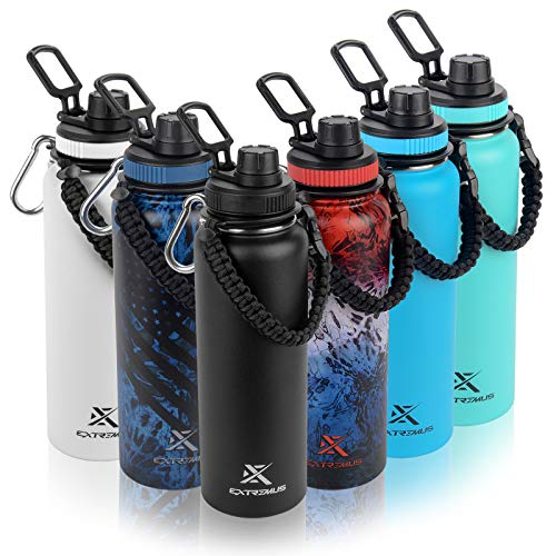 Extremus Deluge Stainless Steel Vacuum Insulated Sports Water Bottle with Wide Mouth, 100% Leak-Proof Chug Travel Lid, Thermos, w/Made in the USA Paracord Survival Handle, 32 oz, Seafoam