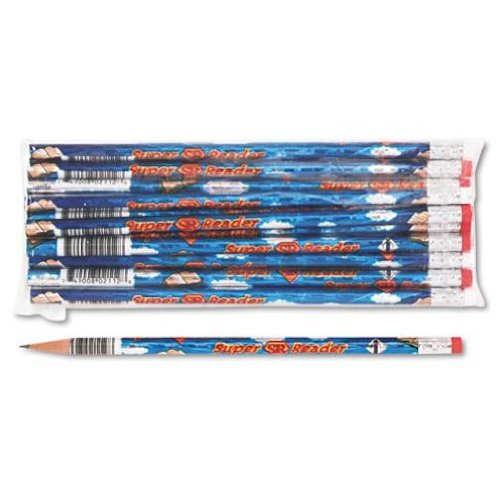 Moon Products 2112B Decorated Wood Pencil, Super Reader, HB #2, Blue, Dozen ()
