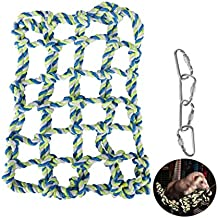 Hamster Climbing Cotton Rope Nets,Fashionclubs Rat&Ferret Hanging Hammock for Cage,Small Animal Activity Toy for Rats,Chinchillas,Ferrets,Degus,with 4 Hooks