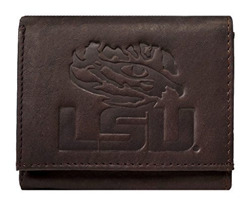 Rico Louisiana State LSU Tigers NCAA Embossed Logo Dark Brown Leather Trifold - Ncaa Tigers Card Credit