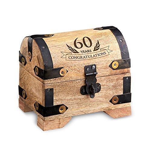 "Engraved Treasure Chest for 60th Birthday - Small - Light Wood - Jewelry Box - Money Box - Wooden Storage Box - Birthday Present Idea - 4"" (10 cm) x ()"