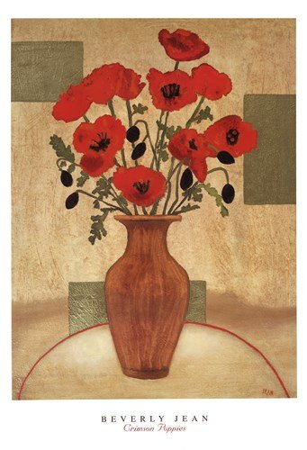 Crimson Poppies by Beverly Jean - 26x38 Inches - Art Print Poster