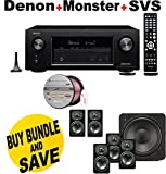 Denon AVRX3200W 7.2 Channel Full 4K Ultra HD A/V Receiver with Bluetooth and Wi-Fi + SVS Prime Satellite 5.1 Premium Black Ash Finish System + Monster - Platinum XP Clear Jacket MKIII 50' Compact Speaker Cable - Clear/Copper Bundle
