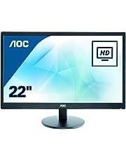 """AOC e2270Swdn 21.5"""" Widescreen TN LED Black Monitor (1920x1080/5ms/VGA/DVI)"""