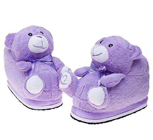 Warm Shoes Winter Slipers Soft Cute Cartoon Plush Slippers Purple Bear DbLWGVI