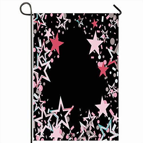 Ahawoso Outdoor Garden Flag 12x18 Inches Glowing Merry Blue Black Clubs Shaped Border Christmas Dot Party Abstract Holidays Pink Candy Bright Home Decor Seasonal Double Sides House Yard Sign Banner Dots Blue Shaped Borders