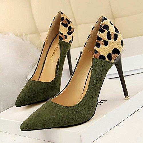 GAOLIM Zapatos De Mujer Primavera Punta Del Butt-Color Tacones Altos Zapatos De Mujer Zapatos De Mujer Fina Con Luz-Girl De Tacón Alto El verde
