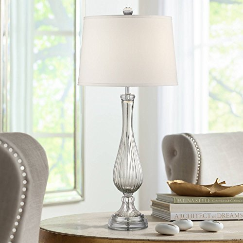 Diana Modern Table Lamp Silver Glass Tapered Drum Shade for Living Room Bedroom Bedside Nightstand Office Family - Possini Euro Design (Diana Lamp)