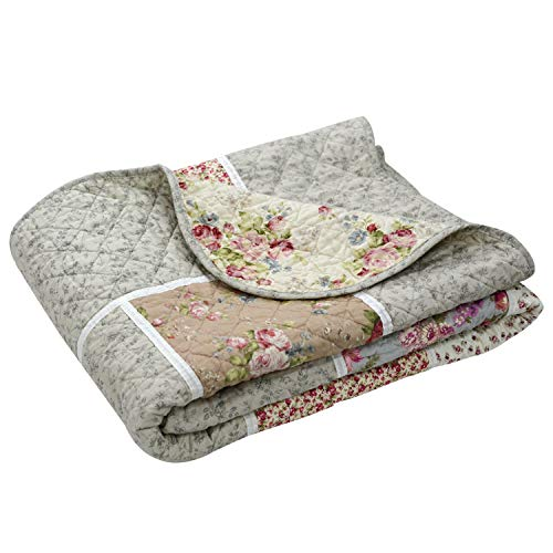 (Brandream Twin Size Girls Romantic Rustic Chic Quilts Blankets Shabby Vintage Lightweight Comforters Bedspreads for Daybed)
