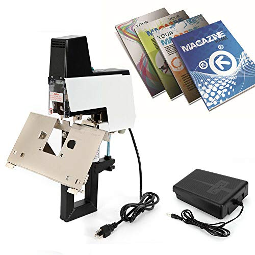 Electric Stapler, Electric Auto Stapler Book Binding Machine Flat Saddle Stapler+Foot Pedal (US Stock)