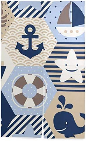 NIESIKKLA 間仕切りカーテン,シームレスな航海テーマベクトルパターン,断熱幅86cm×丈143cm キッチン居間耐久性 風水パーティション夏 冬
