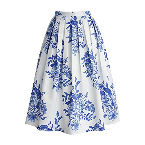Blue Floral Print Skirt (Chicwish Women's Vintage Blue and White Porcelain Floral Flower Sketch Print Pleated A-Line Midi Skirt)