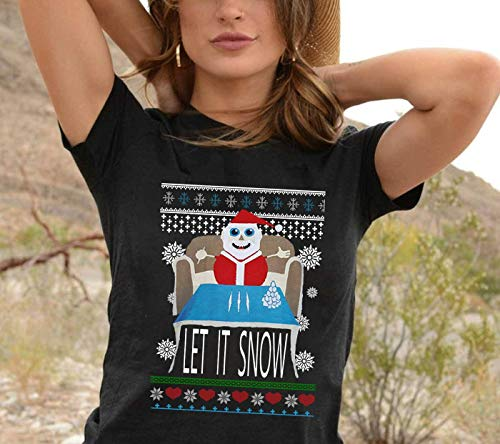 Walmart Let it snow Santa Clause Santa Sweater depicting Santa with lines of cocaine Merry Christmas 2019 Gifts Noel Family Party T-Shirt Long Sleeve Sweatshirt Hoodie Gifts (Christmas Sweaters Wal Mart)