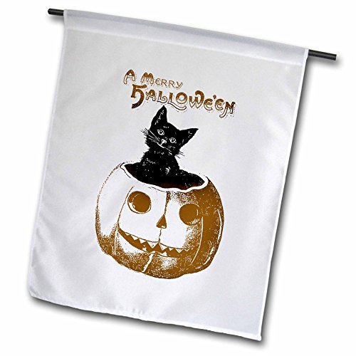 3dRose fl_123386_1 Merry Halloween Cat in Pumpkin Vintage Art Garden Flag, 12 by 18-Inch -