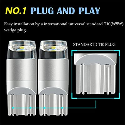 Ice Blue LED Bulb W5W T10 194 168 8000K 3030 SMD Wedge for Car Reverse Map License Plate Backup Dashboard Parking Trunk Marker Dome Lights Interior Auto Lamp Bright 12V 1W 1 Year Warranty【1797】: Automotive