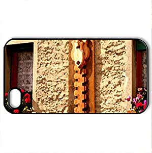 balcone fiorito ... ricucito - Case Cover for iPhone 4 and 4s (Houses Series, Watercolor style, Black)