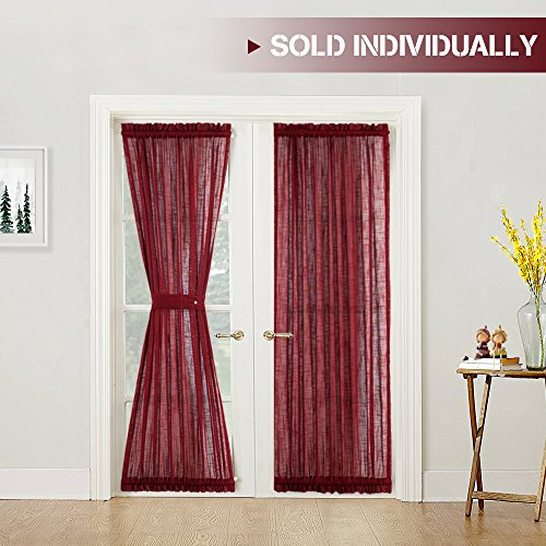 Linen Textured French Door Panel Curtains Privacy Sheer French Door Panels 72 inch Length, 1 Panel, Burgundy, Matching 1 Tieback Included ()