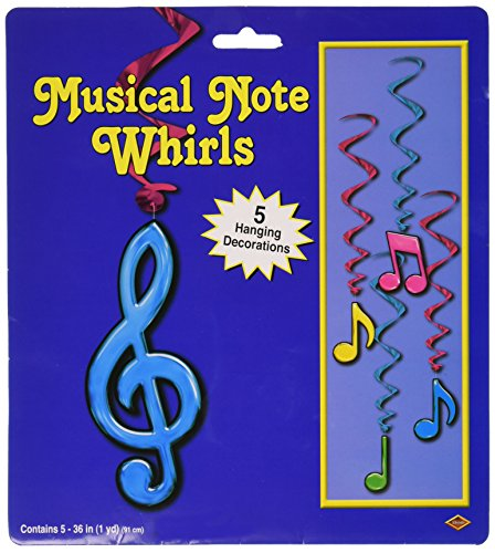 [Beistle 57623-N 5-Pack Neon Musical Note Whirls, 3-Feet] (Music Party Decorations)
