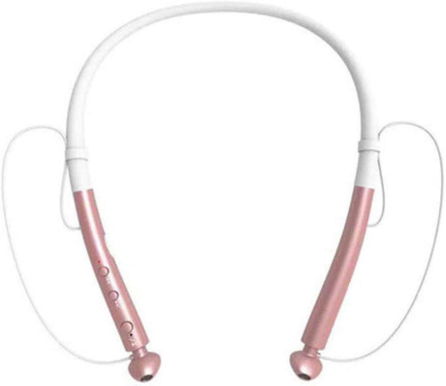 chachacha Sports Neck Hanging Wireless Bluetooth Headset Double Ear 5.0 Stereo Ultra Long Standby Waterproof Heavy Bass HeadphonesRose Gold
