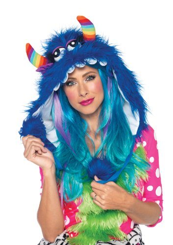 (Leg Avenue Costumes Big Bloo Furry Monster Hood with Pom Pom Ties, Blue, One)