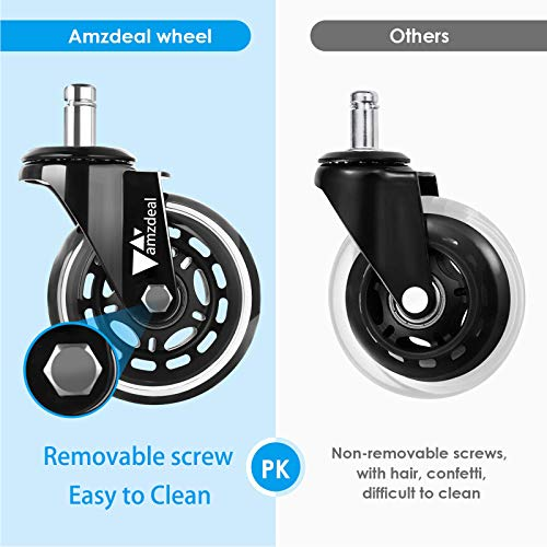 "amzdeal Office Chair Casters Wheels - (Set of 5) 3"" Heavy-duty Rollerblade Casters Computer Chair Wheels Replacement, Safe for All Floors Including Hardwood Floor, 11mm Stem Diameter, Universal Fit"