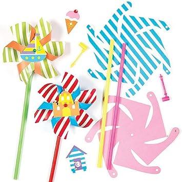 Baker Ross Kits de molinillos de Viento de Cartón con Motivos Marinos para Que los Niños los monten, decoren y jueguen con Ellos (Pack de 4).