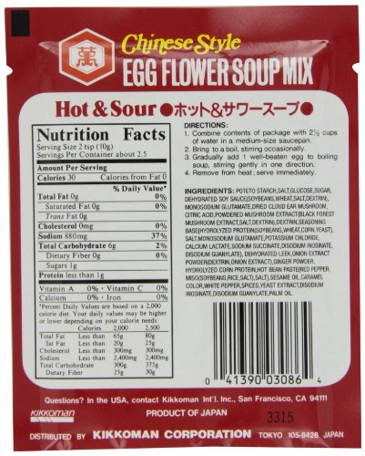 Nutrition facts hot and sour soup