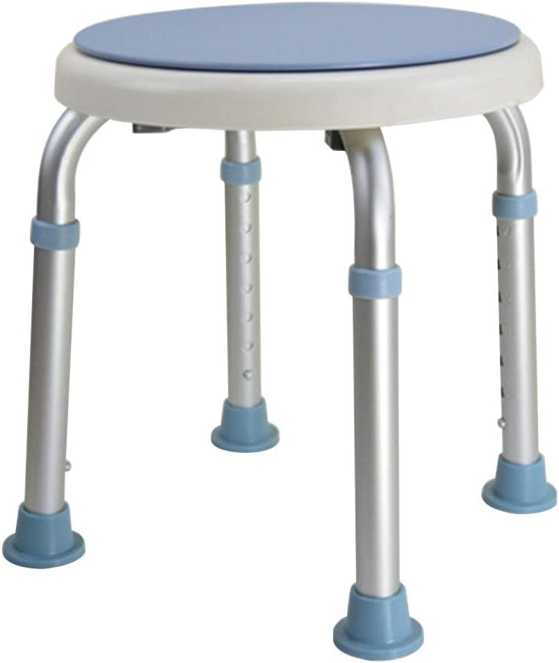 Folding Shower Chair, Blue Aluminum Alloy Round Rotating Non-Slip Safety Barrier-Free Bathroom Shaving Stool, Suitable for The Elderly Disabled Pregnant Women 51aZw2xquuLSL1000_