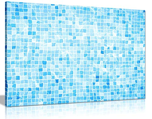 Blue Swimming Pool Tiles Water Ripple Canvas Wall Art Picture Print for Home Decor (24x16)