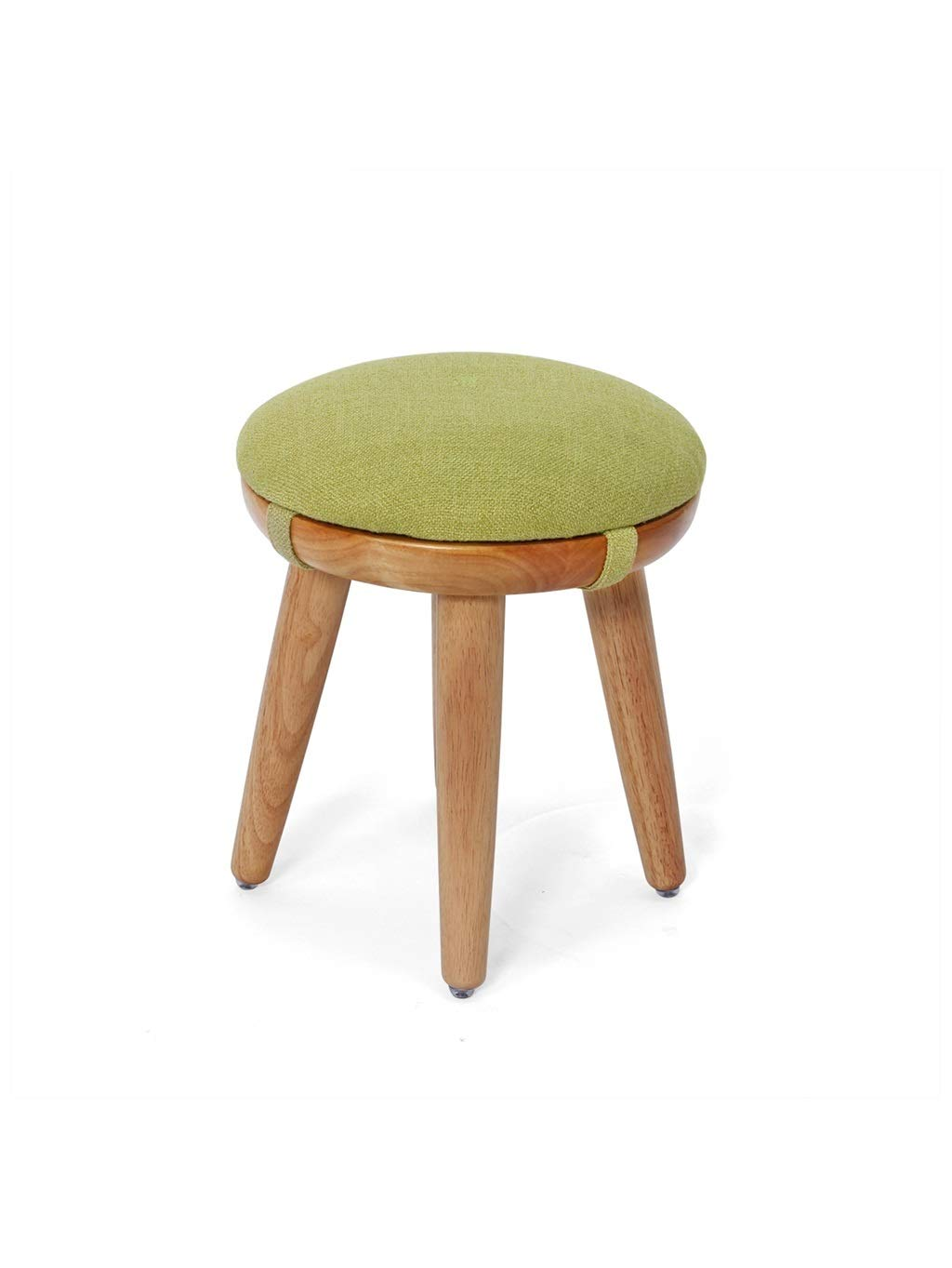 Light brown wood+cushion 30cm ZH STOOLS Round Stool, Full Solid Wood Seat Handmade Multifunction Ergonomics Small Bench for Footrest Makeup Change shoes (color   Light Brown Wood, Size   40CM)