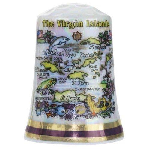 bean Map Pearl Souvenir Collectible Thimble agc (Virgin Islands Miniature)