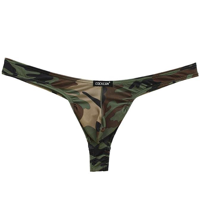 iEFiEL Tanga de Camuflaje Ropa Interior Masculina Slips Elásticos para Hombre
