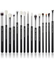 Jessup 15Pcs Professional Makeup Brushes Set Make up Brush Tools kit Cosmetics Tools Eye Liner Shader Wood Handle Natural-synthetic Hair Brushes Pearl Black/Silver T177