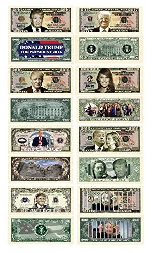 Donald Trump 45th President Collectors 8 Bill Set: Commander In Chief Bill, 2016 Presidential, 2016 Victory, 2016 Trump Vs Hillary, Legacy, 2017 Inaugural, Melania Trump and Hillary For Prison Note