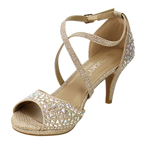 Forever Ankle Stiletto Champagne Cross Women's Heel Sandals Criss IG09 Rhinestone Strap 4qarg4t0