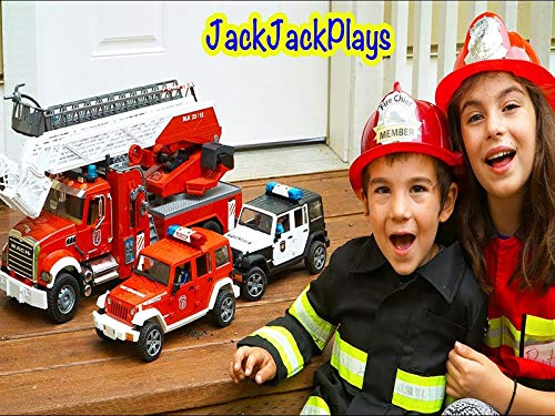 - Bruder Trucks Fire Engines Kids Playing With Toys Putting Out Fire