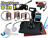8in1 Heat Press Machine Digital Tshirt Mug Hat Cap Basaball Transfer Sublimation