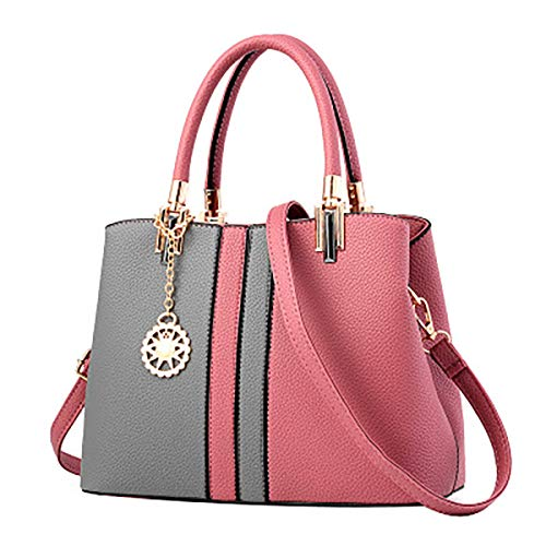 30 Purple PU for Ladies 13 Contrast x EDLUX Women Zipper Bag Nylon Rubber x with Pink Color Fashion 23cm Handbag Dark Leather cqWB0AF