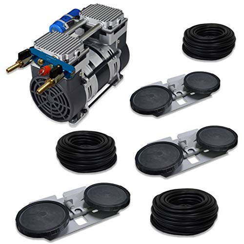 HALF OFF PONDS Pro Deep Water Subsurface Air & Aeration System with (1) 6.7 CFM Rocking Piston Compressor, 300′ of 3/8″ Weighted Tubing and (3) Double-10 EPDM Self-Sinking Diffuser Disc Assemblies