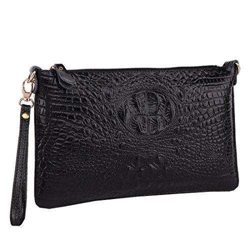 Women PU Leather Floral Print Shoulder Bag (Black) - 3